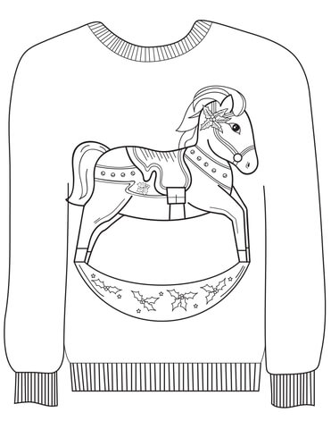 Christmas Ugly Sweater with a Rocking Horse Motif coloring page