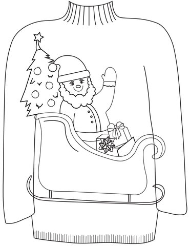 Christmas Ugly Sweater with a Sleigh of Santa Claus Motif coloring page