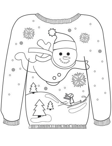 Christmas Ugly Sweater with a Snowman Motif Coloring page