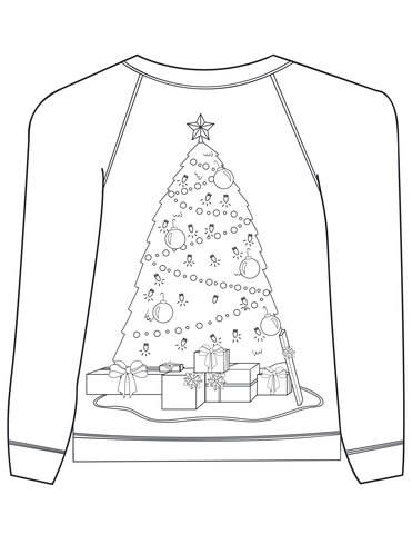 Christmas Ugly Sweater with Christmas Tree Motif coloring page