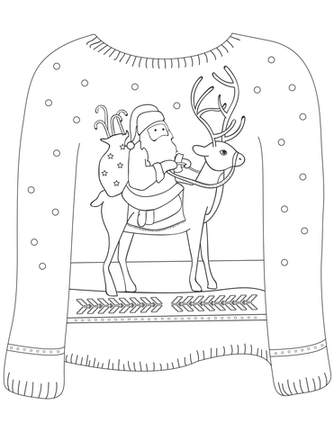 Christmas Ugly Sweater with Santa on Reindeer Motif coloring page