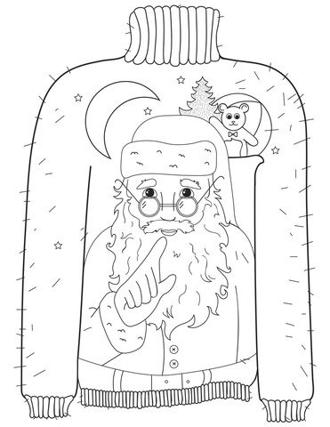 Christmas Ugly Sweater with Whispering Santa Motif coloring page