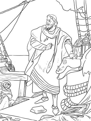 Christopher Columbus on the Santa Maria coloring page - Free ...