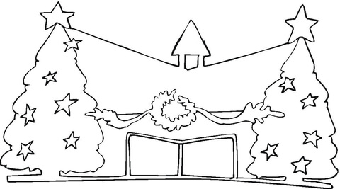 Church Decorated for Christmas  coloring page