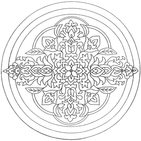 Circle Mandala with Flower Ornament coloring page