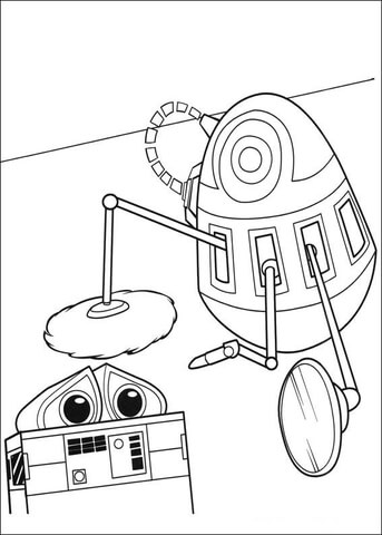 cleaning wall e coloring page