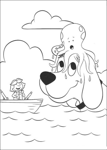 octopus is on the head of clifford coloring page