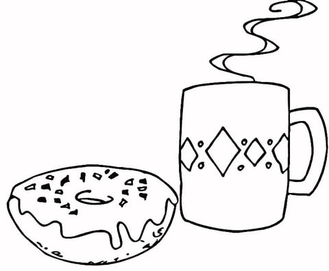 Coffee and Donut  coloring page