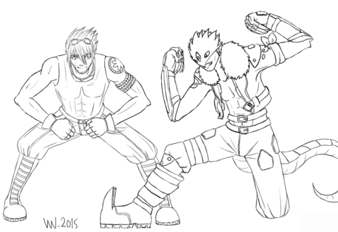 Commission Digimon OC and Beelzemon coloring page