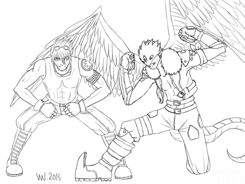Commission Digimon OC and Beelzemon with Wings coloring page