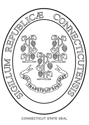 connecticut state seal coloring page