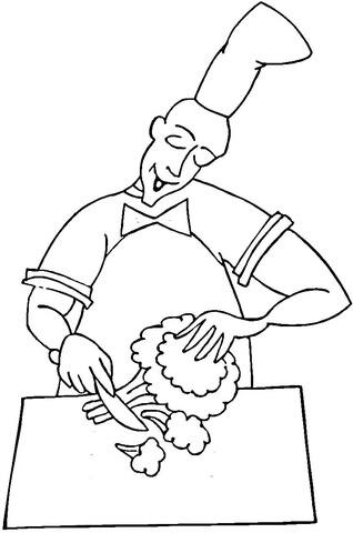 Cooking Broccoli  coloring page