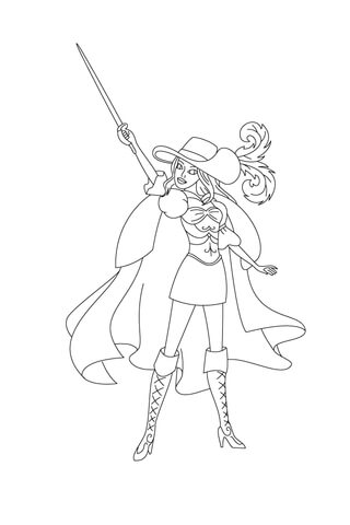 Corinne Is Pointing Her Sword Above Her Head coloring page