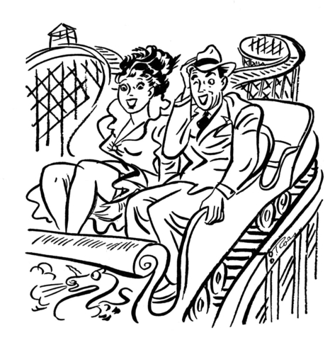 Couple On The Roller Coaster  coloring page
