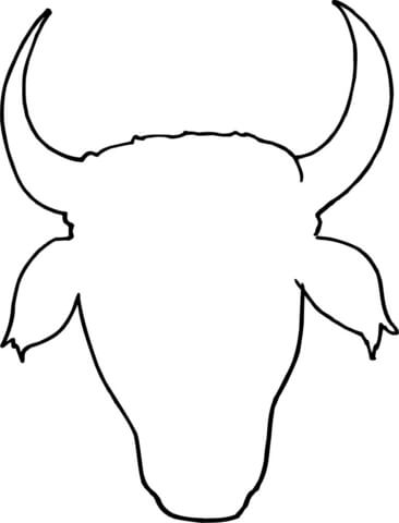 Cow Head Outline coloring page