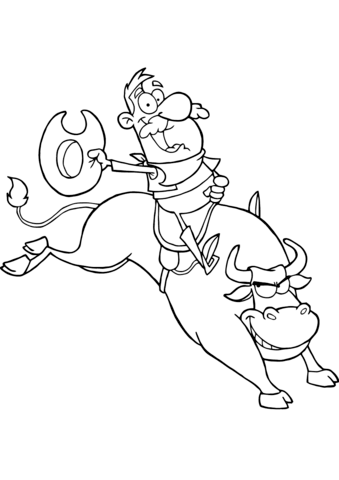 Cowboy Riding Bull in Rodeo coloring page