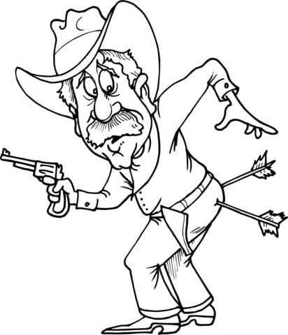 Cowboy with Two Arrows in Butt coloring page