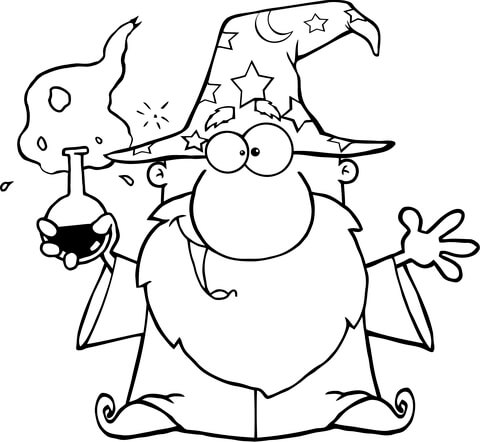 Crazy Wizard Holding a Green Magic Potion coloring page
