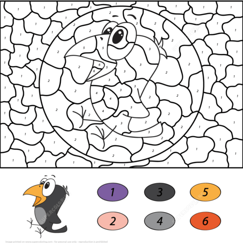 Crow Color by Number coloring page