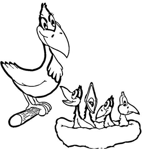 Crow Mama and Baby Crows  coloring page