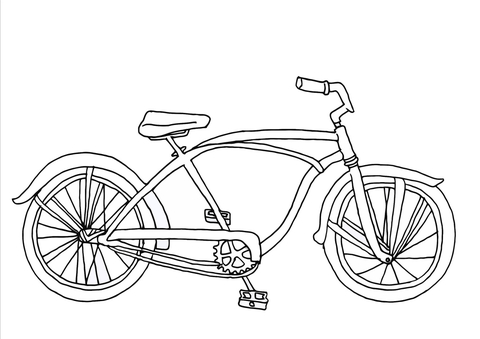Cruiser Bicycle coloring page