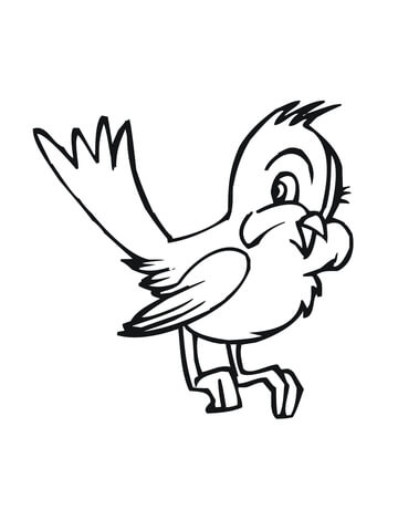 Cute Cartoon Bluebird coloring page