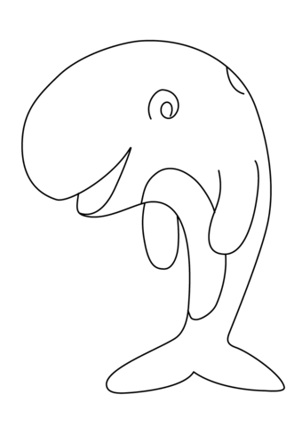 Cute Cartoon Whale coloring page