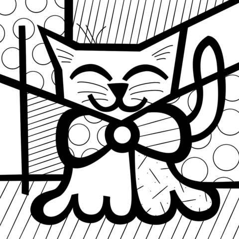 Cute Cat by Romero Britto coloring page