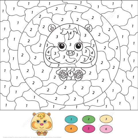 Cute Hamster Color by Number coloring page