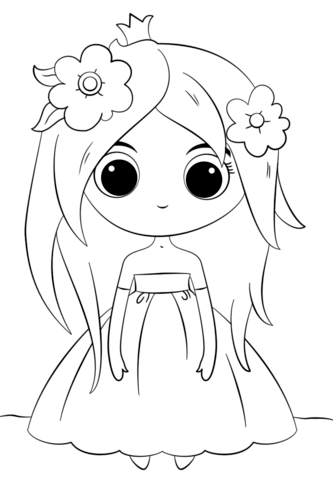 Cute Chibi Princess coloring page