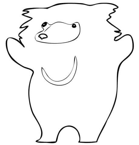 Cute Sloth Bear coloring page