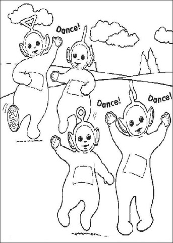 Tinky-Winky, Dipsy, Laa-Laa and Po are Dancing Together  coloring page