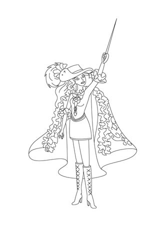 D'aramina Is Pointing Her Sword At The Stars coloring page
