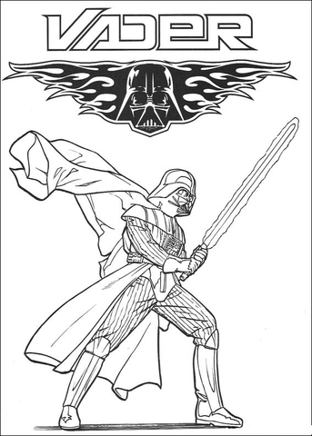 Darth Vader, ruthless cyborg coloring page