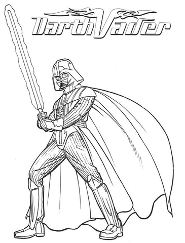 Darth Vader With Lightsaber Coloring Page Free Printable