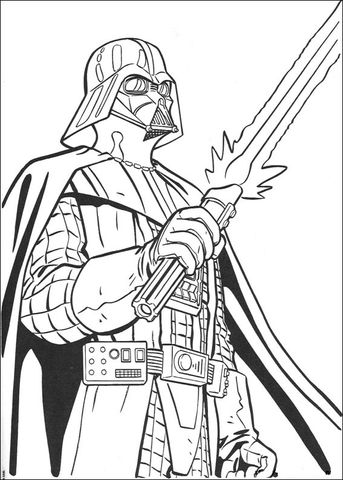 Darth Vader villain coloring page
