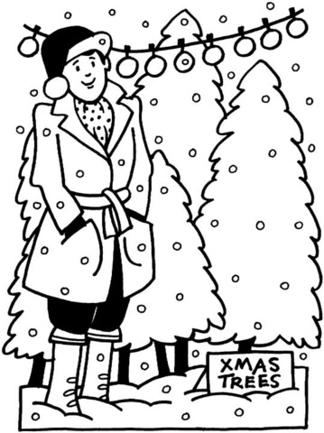 Decorating Christmas Tree  coloring page