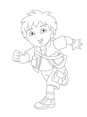 Diego is Running coloring page