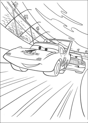 The King racing coloring page