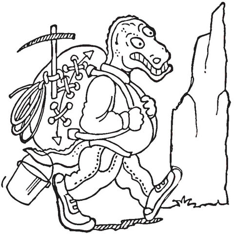 dinosaur hiking coloring page