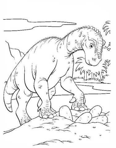 Iguanodon Is Walking Around The Lake  coloring page