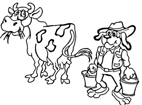 Dog Farmer Coloring page