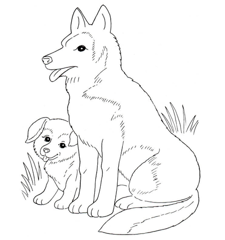dog mother and puppy coloring page