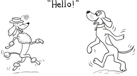 Dog Says Hello! coloring page