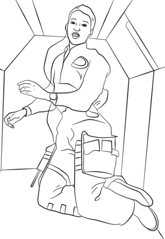 Dr. Mae C. Jemison in Space coloring page