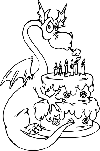 Dragon with Happy Birthday Cake coloring page