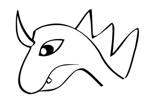 Dragon's head in simple lines coloring page
