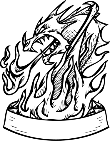 Dragon in Flames with Banner coloring page