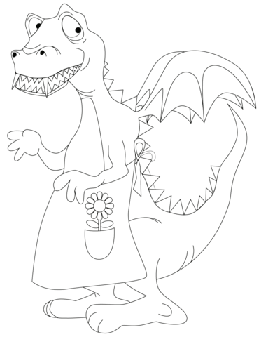 Dragon Wearing an Apron coloring page