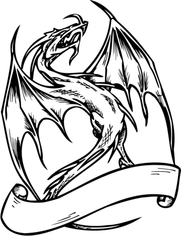 Dragon with Banner coloring page